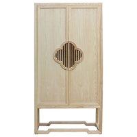 Minimalist Light Raw Wood Shutter Doors Bookcase Display Dresser Cabinet Hcs4937