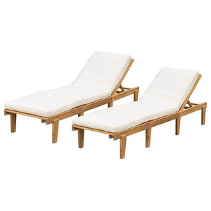 Gdf Studio Paolo Outdoor Teak Brown Wood Chaise Lounge