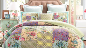 DaDa Bedding Frosted Pastel Gardenia Bohemian Reversible Cotton Real Patchwork Q