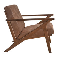 Omax Decor Zola Lounge Chair, Mocha/Walnut
