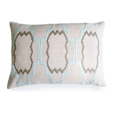 Lilly Natural Linen Pillow, Pale Blue And Light Gray Embroidery