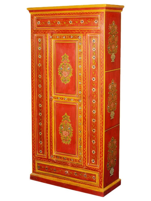 Fire Garden Hand Painted Mango Wood 72u201d Cabinet W Hidden Drawer   Armoires  And Wardrobes