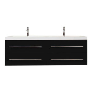 Emotion Persepolis Bathroom Furniture, 144 cm, Black Semi-Gloss