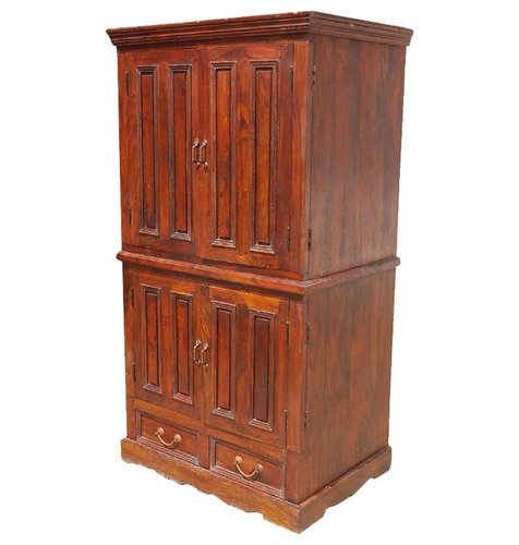 Solid Wood Double Door TV Cabinet Media Storage Armoire Hutch   Armoires  And Wardrobes