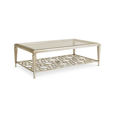 Socialite Taupe Silver Leaf Coffee Table With Fretwork Shelf