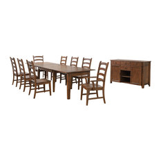 Sunset Trading 10 Piece Rectangular Extendable Table Dining Set Amish Brown