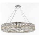 """Gallery - Crystal Nimbus Ring Chandelier Modern Pendant 40"""" Wide - Crystal nimbus Ring Chandelier Chandeliers Modern/Contemporary Lighting Pendant 40 Wide - Good for Dining Room, Foyer, Entryway, Family Room and More! This beautiful lighting fixture features  Crystals which capture and reflect the light from its 12 bulbs. Truly a stunning chandelier, this fixture is sure to lend a special atmosphere anywhere it is placed. Lightbulbs not included. Size: H 4.5"""" W 40 / Comes with a 7 Foot Adjustable Cable Assembly Required."""