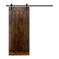 Paneled Wood Dark Brown Finish Barn Door, Hardware Kit -Single Door, 36, Z1