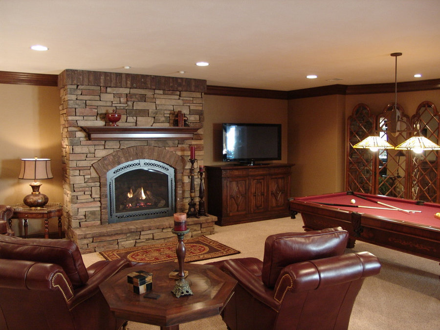 Traditional Man Cave Basement Television Installation