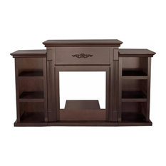 70-inch Tv Stand Firplace Stand Media Console Bookcase Espresso