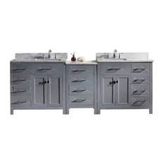 "Caroline Parkway 93"" Double Bathroom Vanity Cabinet Set, Gray"