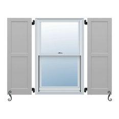Atlantic Classic 2-Equal Flat Panels, Flat Panel Shutters Set of 2, Chelsea Gray