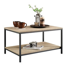 Contemporary Stylish Coffee Table With Metal Frame and Oak Wooden Top