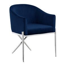Xavier Velvet Dining Chair Navy Chrome Legs