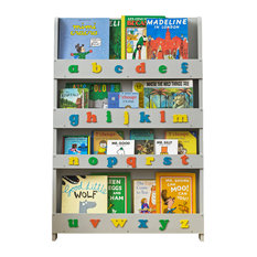 Designer Children's Bookcase, Pale Grey With Letters