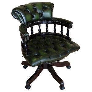 Mahogany Finish Captain's Desk Chair, Green