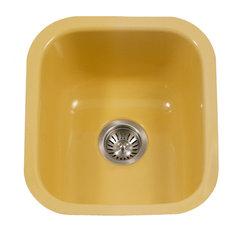 Houzer PCB-1750 LE Porcela Porcelain Enamel Steel Undermount Bar Sink Lemon