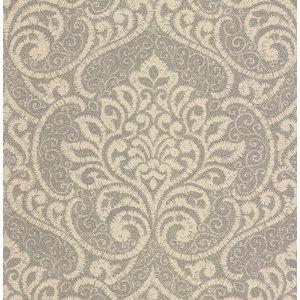 Lupus Metallic Damask Wallpaper, Platinum