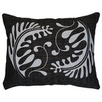 Mode Cast Design - Embroidered Pillow, Black and White - Luxury Lumbar Pillow with Embroidered Artwork.