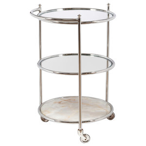 33 in Round Tempered Glass Server Cart