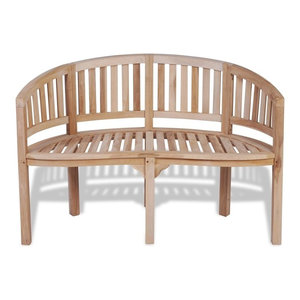 vidaXL Teak Banana Bench With 2 Seats, 120 cm