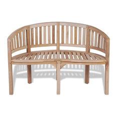 vidaXL Teak Banana Bench With 2 Seats, 120 cm