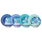 AmericanCollectibles - Melamine Dinnerware, 12 Piece Set - Spice up your dining space with this beautiful 12-piece melamine dinnerware set.  Constructed out of 100% melamine, this set is perfect for indoor or outdoor entertaining.  This beautiful set is suitable for any occasion.