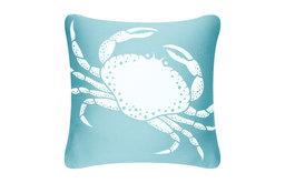 Crab Eco Coastal Throw Pillow Cover, Ocean Blue
