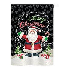 Christmas Candy Cane Santa 2-Sided Vertical Impression House Flag
