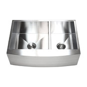 """33"""" Stainless Steel Curved Front Farm Apron 60/40 Double Bowl Kitchen Sink"""