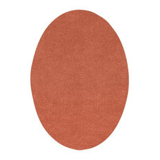 Home Queen Solid Color Area Rug, Rust, 2'x8' Oval