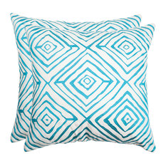 "Safavieh Diamonds Five Pillow, Set of 2, Light Blue/Cream, 20""x20"""