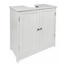 Traditional Under Sink Bathroom Storage Cabinet, White MDF With Inner Shelf