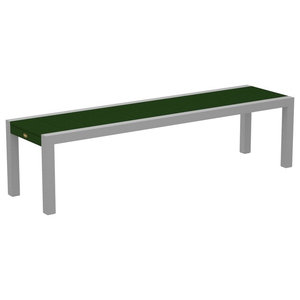 "Outdoor Surf City 68"" Bench, Base: Textured Silver, Top: Rainforest Canopy"