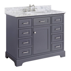 "Kitchen Bath Collection - Aria Bath Vanity, Base: Charcoal Gray, 42"", Top: Carrara Marble - Bathroom Vanities and Sink Consoles"