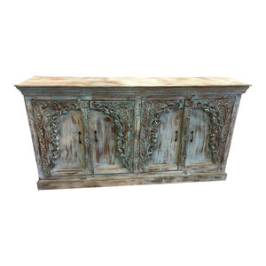 Mogul Interior - Cosigned Antique Blue sideboard cabinet media console Distressed  Carved Buffet - Buffets And Sideboards
