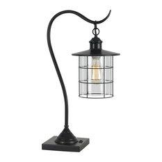 Cal One Light Desk Lamp, Chrome/ Pine Finish
