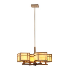Craftsman Chandelier in Amber Mixed White and Antique Gold
