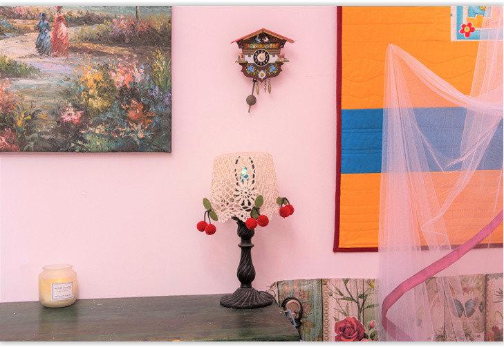 cherry hair-pins and swiss clock