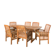 1st Avenue - Herman 7-Piece Dining Table and Chairs Set, Light Brown - Outdoor Dining Sets