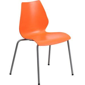 Hercules Series 770 Lb. Capacity Stack Chair, Lumbar Support, Silver, Orange