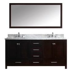 """Caroline Avenue 72"""" Double Bathroom Vanity Set Espresso, Marble Top"""