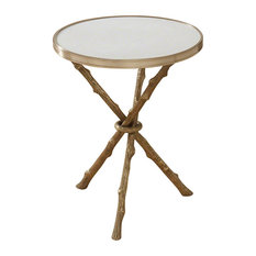 Global Views   Bijou Twig Branch Accent Table, Gold And White   Side Tables  And