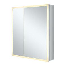 "LED Recessed/Surface Mount Medicine Cabinet, Aluminum, 30""x30"", Right Hand Door"