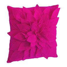 Sara's Garden Petal Decorative Throw Pillow, 17 Inch Square, Fuchsia
