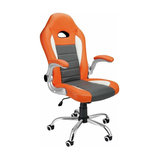 Modern Gaming Chair Upholstered, Orange/Grey PU Leather With Padded Armrest