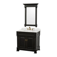 "Andover 36"" Vanity, Undermount Sinks, 28"" Mirror, Black, White Carrera Marble"