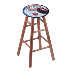 Maple Counter Stool Medium Finish With Montreal Canadiens Seat 24-inch