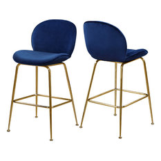 Paris Velvet Stool, Set of 2, Navy, Gold Base