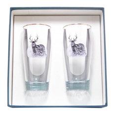 Deer 20-Ounce Beer Glasses, Set of 2